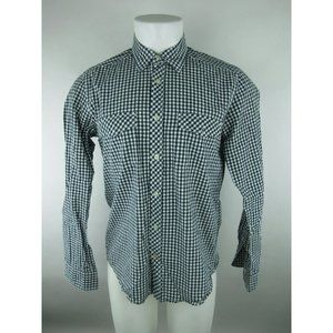 H&M Long Sleeve Fitted Paid Button Front Shirt